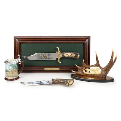 Franklin Mint Carved Fixed Blade Hunting Knife and Stein With Table Decor