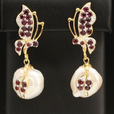 Sterling Garnet Butterfly Earrings with Pearl Drops