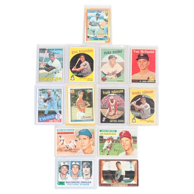 1950s-1990s MLB Cards with Duke Snider, Frank Robinson and Brooks Robinson
