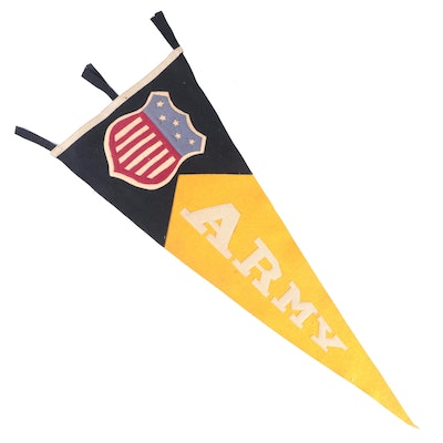 WWI Era United States Army Red, White, and Blue Flag Shield Felt Pennant