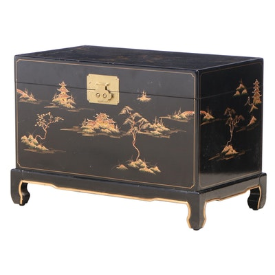 Black-Lacquered, Parcel-Gilt, and Chinoiserie-Decorated Chest-on-Stand