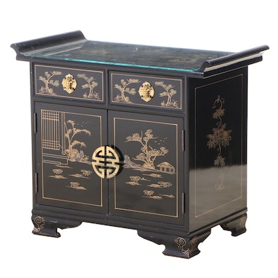 Black-Lacquered, Parcel-Gilt, and Chinoiserie-Decorated Side Cabinet