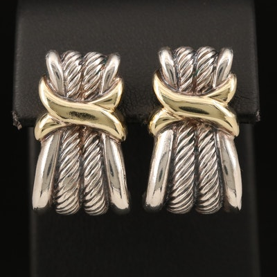 """David Yurman """"Classic Wheat"""" Sterling Earrings with 14K Accents"""