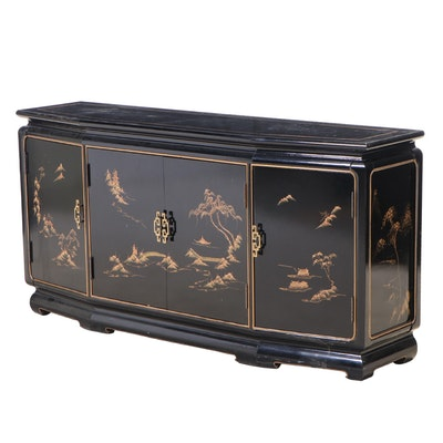 Black-Lacquered, Parcel-Gilt, and Chinoiserie-Decorated Sideboard