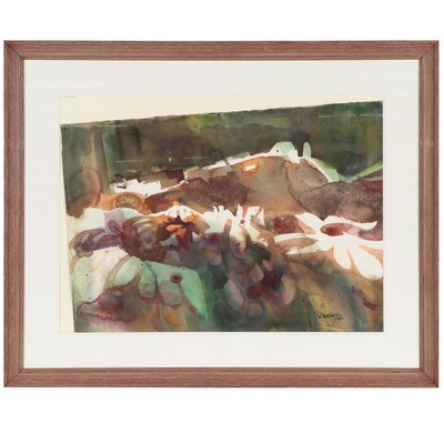 Virginia W. Brooks Abstract Watercolor Painting, Mid-20th Century