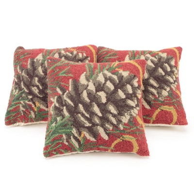 Grandin Road Hooked Pinecone Throw Pillows