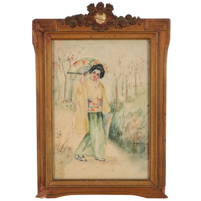 Japanese Inspired Watercolor Painting of Woman, Mid-20th Century