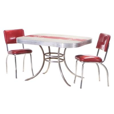 Three-Piece Mid Century Modern Tubular Chrome and Laminate Top Dining Set