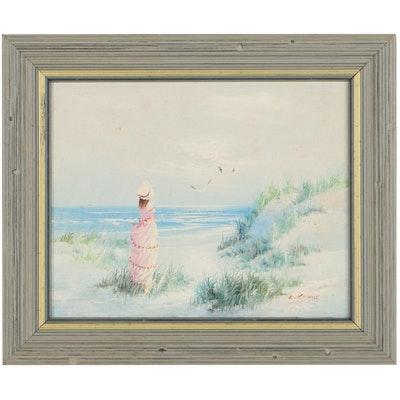 L. Keswick Coastal Landscape Oil Painting With Figure, Late 20th Century