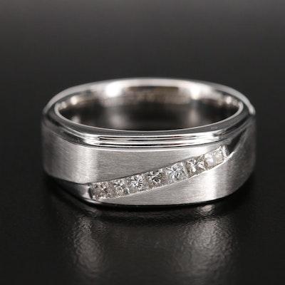 18K 0.50 CTW Diamond Ring with Brushed Finish
