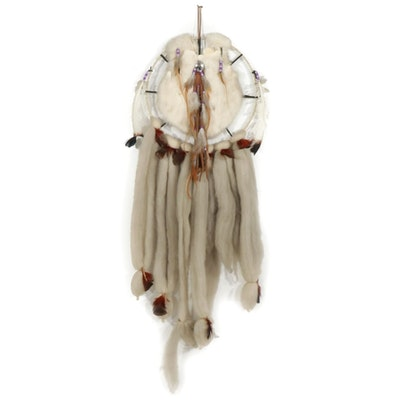 Wool, Rabbit Hide and Beaded Pheasant Feather Native American Style Dreamcatcher