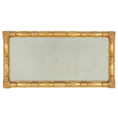 American Empire Giltwood Rectangular Wall Mirror, Mid to Late 19th Century