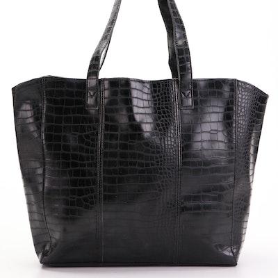 Neiman Marcus Black Croc-Embossed Tote Bag
