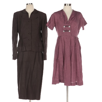 Jameshire Custom Tailored Skirt Suit and Purple Short Sleeve Fitted Dress, 1950s