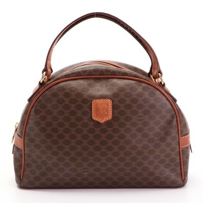 Celine Domed Top Handle Bag in Macadam Canvas and Leather