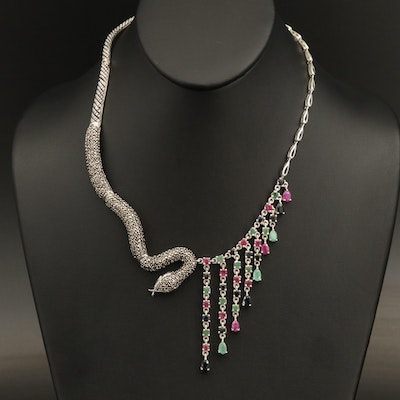 Sterling Silver Corundum, Emerald and Marcasite Serpent Fringe Necklace
