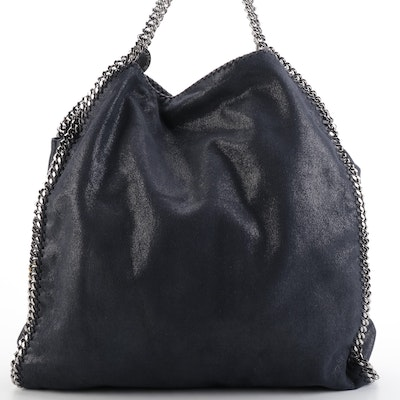 Stella McCartney Falabella Tote in Navy Shaggy Deer Faux Suede