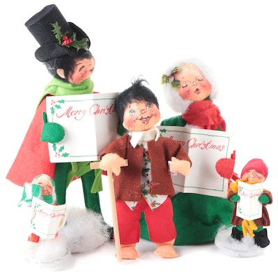 Annalee Mobilitee Carolers and Tiny Tim Figurines