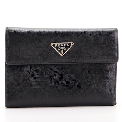 Prada Trifold Continental Wallet in Black Saffiano Leather