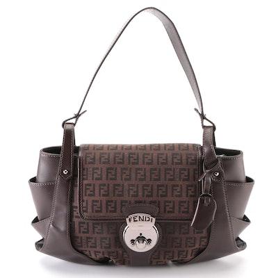 Fendi Compilation Shoulder Bag Medium Zucchino Canvas and Dark Brown Leather