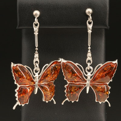 Sterling Amber Butterfly Drop Earrings