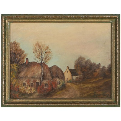 Jacques Lang Rural Landscape Oil Painting, Early 20th Century