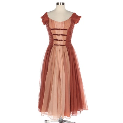 Ruched Chiffon Cap Sleeve Occasion Dress with Taffeta Underskirt