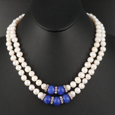 Double Strand Pearl and Quartz Pendant Necklace