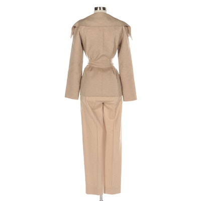 Max Mara Cashmere Double-Breasted Wide-Collar Belted Jacket and Trousers