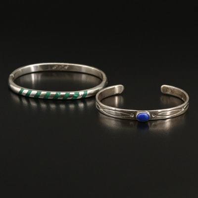 Mexican Sterling Faux Malachite Inlay Bangle and Stamped Lapis Lazuli Cuff