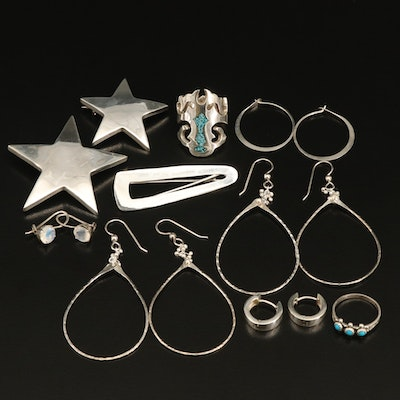 Sterling Jewelry Collection with Mexican Barrett and Star Brooches