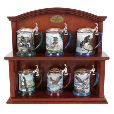 """Ted Blaylock """"Eagle of The Last Frontier"""" Porcelain Tankards with Wooden Shelf"""