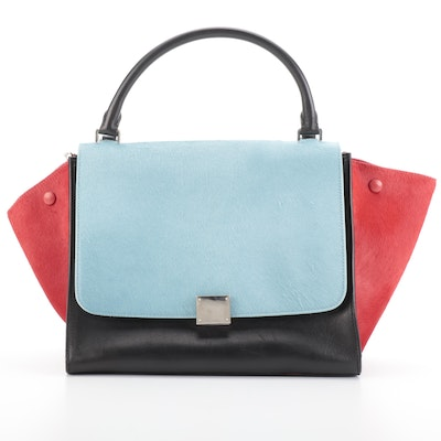 Céline Trapeze Medium Bag in Red/Blue Calf Hair and Black Leather
