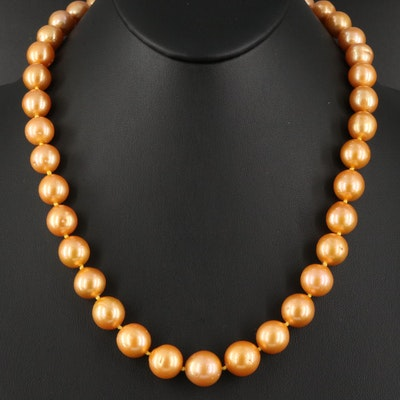 Semi-Baroque Graduated Pearl Necklace with 14K Clasp