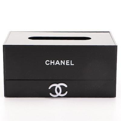 Chanel Black Tissue Box with Organizer Drawer