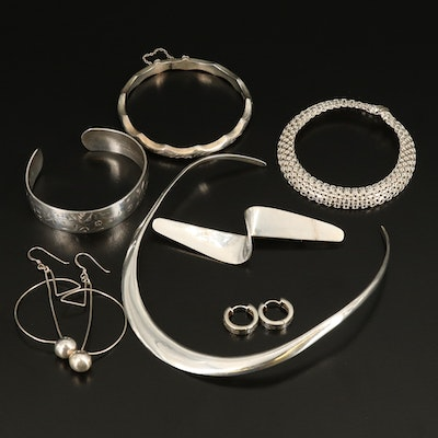 Sterling Grouping Including Mexican, Torque, Bracelet, Earrings and Brooch