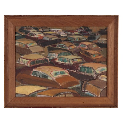 Modernist Style Oil Painting of Cars, Mid-20th Century