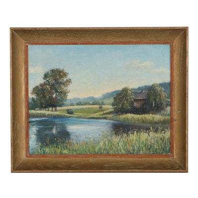 Rural Landscape Oil Painting, 20th Century