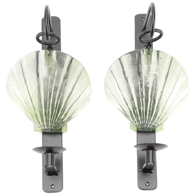 Shell Form Metal and Glass Outdoor Candle Wall Sconces