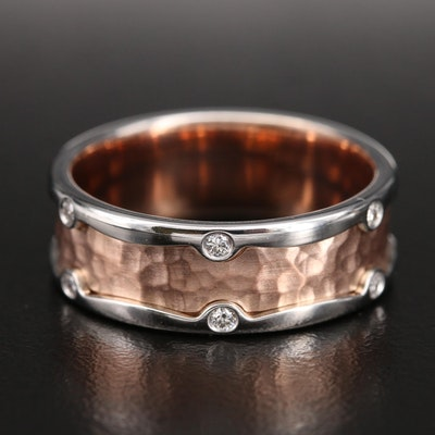 14K 0.24 CTW Diamond Band with Hammered Rose Gold Detail