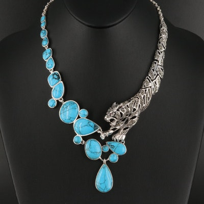 Sterling Turquoise, Ruby and Marcasite Tiger Necklace