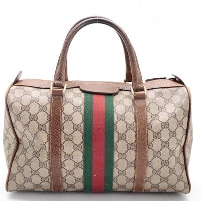Gucci Web Stripe GG Supreme Canvas and Leather Boston Bag