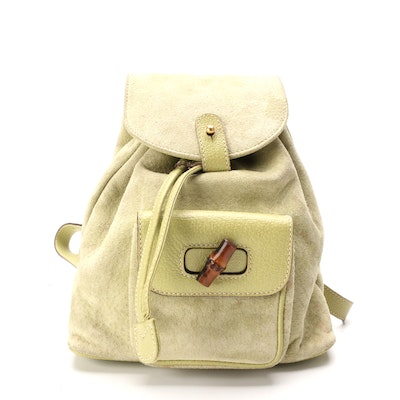 Gucci Bamboo Mini Rucksack in Suede and Leather in Light Avocado Green