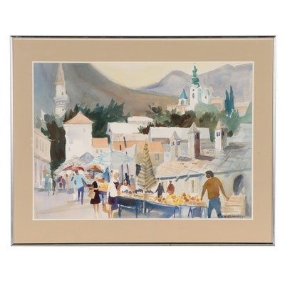 """Sanford Brooks Watercolor Painting """"Market Mostar,"""" Mid-20th Century"""