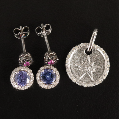 Sterling Earrings and Eva LaRue Pendant with Tanzanite, Diamond, and Ruby