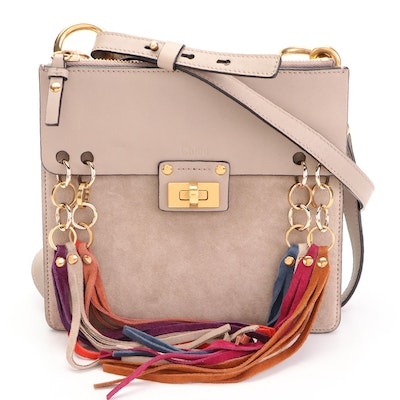 Chloé Jane Crossbody Bag in Taupe Leather and Suede with Multicolor Suede Fringe