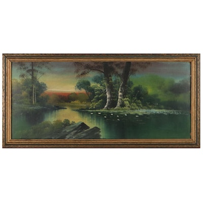 River Landscape Oil Painting, Mid-20th Century