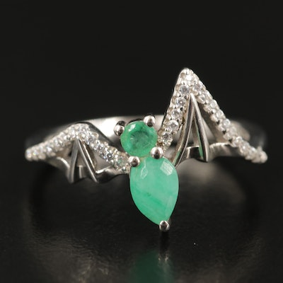 Sterling Emerald and Cubic Zirconia Bat Ring