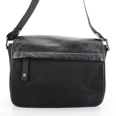 Fendi Messenger Flap Bag Medium in Black Nylon and Leather