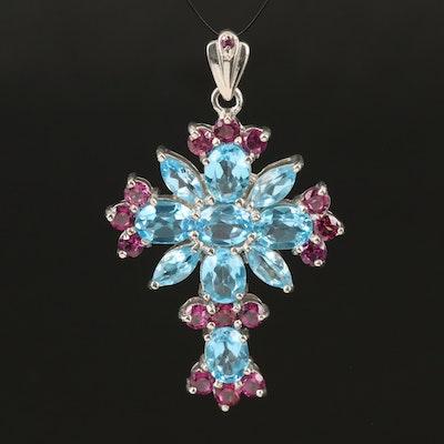 Sterling Swiss Blue Topaz and Garnet Cross Pendant